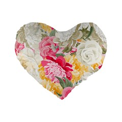 Colorful Floral Collage Standard 16  Premium Heart Shape Cushions