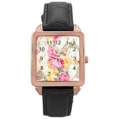 Colorful Floral Collage Rose Gold Watches