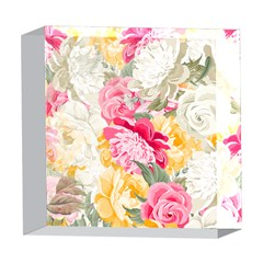 Colorful Floral Collage 5  x 5  Acrylic Photo Blocks