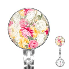 Colorful Floral Collage Stainless Steel Nurses Watches