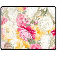 Colorful Floral Collage Double Sided Fleece Blanket (medium)