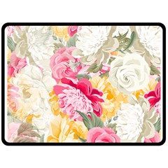 Colorful Floral Collage Double Sided Fleece Blanket (large)
