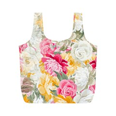 Colorful Floral Collage Full Print Recycle Bags (M)