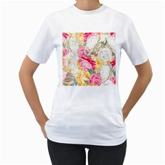 Colorful Floral Collage Women s T-Shirt (White)