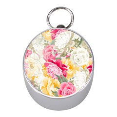 Colorful Floral Collage Mini Silver Compasses