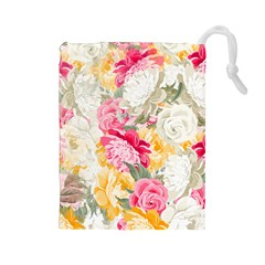 Colorful Floral Collage Drawstring Pouches (large)