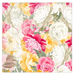 Colorful Floral Collage Large Satin Scarf (Square)