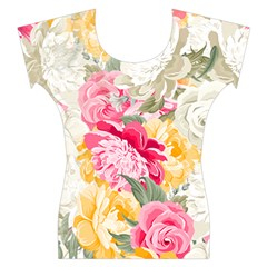 Colorful Floral Collage Women s Cap Sleeve Top