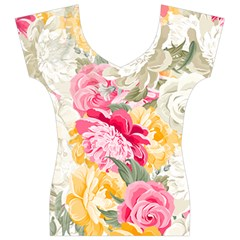 Colorful Floral Collage Women s V-Neck Cap Sleeve Top