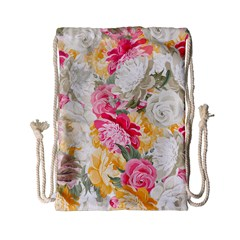 Colorful Floral Collage Drawstring Bag (Small)