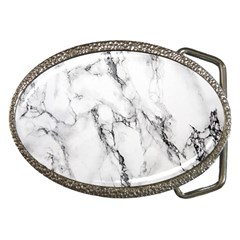 White Marble Stone Print Belt Buckles