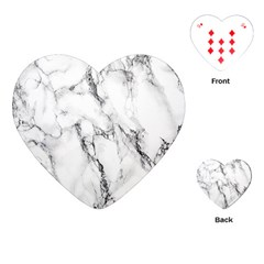 White Marble Stone Print Playing Cards (Heart)