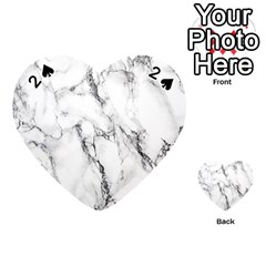 White Marble Stone Print Playing Cards 54 (Heart)