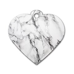White Marble Stone Print Dog Tag Heart (Two Sides)