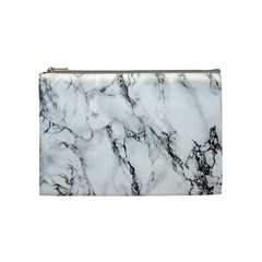 White Marble Stone Print Cosmetic Bag (Medium)