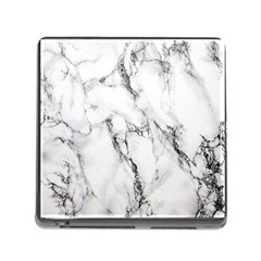 White Marble Stone Print Memory Card Reader (square)