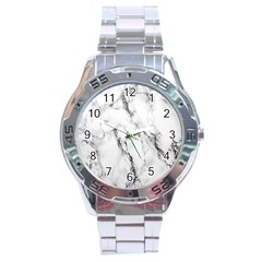 White Marble Stone Print Stainless Steel Men s Watch