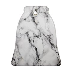 White Marble Stone Print Bell Ornament (2 Sides)