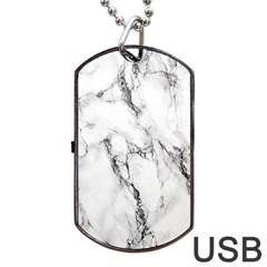White Marble Stone Print Dog Tag USB Flash (Two Sides)