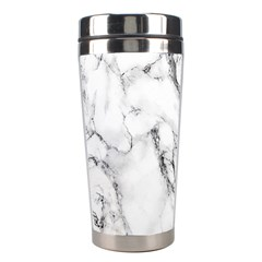 White Marble Stone Print Stainless Steel Travel Tumblers
