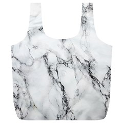 White Marble Stone Print Full Print Recycle Bags (L)