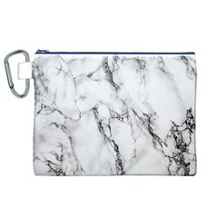 White Marble Stone Print Canvas Cosmetic Bag (XL)