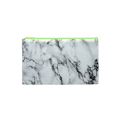 White Marble Stone Print Cosmetic Bag (XS)