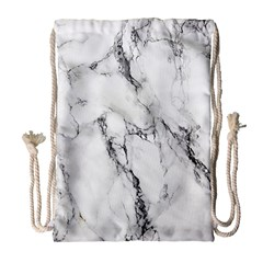 White Marble Stone Print Drawstring Bag (Large)