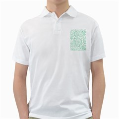 Mint green And White Baroque Floral Pattern Golf Shirts
