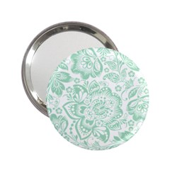 Mint green And White Baroque Floral Pattern 2.25  Handbag Mirrors