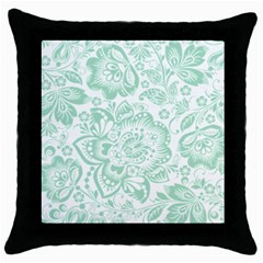 Mint green And White Baroque Floral Pattern Throw Pillow Cases (Black)