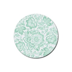 Mint green And White Baroque Floral Pattern Rubber Round Coaster (4 pack)