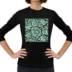 Mint Green And White Baroque Floral Pattern Women s Long Sleeve Dark T Shirts