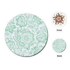 Mint Green And White Baroque Floral Pattern Playing Cards (round)