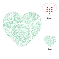 Mint Green And White Baroque Floral Pattern Playing Cards (heart)
