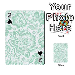Mint Green And White Baroque Floral Pattern Playing Cards 54 Designs