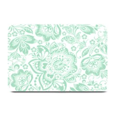 Mint green And White Baroque Floral Pattern Plate Mats