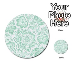 Mint Green And White Baroque Floral Pattern Multi Purpose Cards (round)