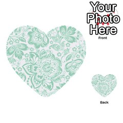 Mint Green And White Baroque Floral Pattern Multi Purpose Cards (heart)