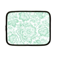 Mint green And White Baroque Floral Pattern Netbook Case (Small)