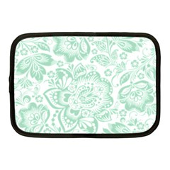 Mint green And White Baroque Floral Pattern Netbook Case (Medium)