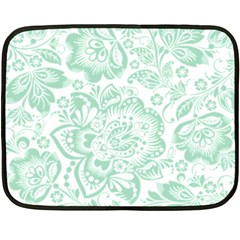 Mint Green And White Baroque Floral Pattern Fleece Blanket (mini)