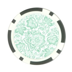 Mint green And White Baroque Floral Pattern Poker Chip Card Guards (10 pack)