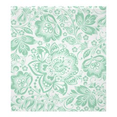 Mint Green And White Baroque Floral Pattern Shower Curtain 66  X 72  (large)