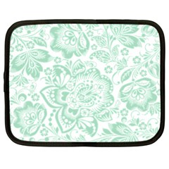 Mint green And White Baroque Floral Pattern Netbook Case (XL)