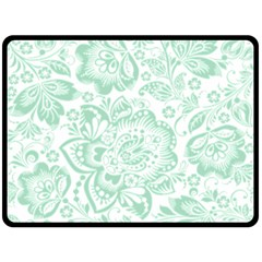 Mint green And White Baroque Floral Pattern Fleece Blanket (Large)