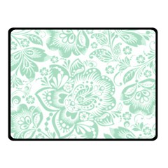 Mint green And White Baroque Floral Pattern Fleece Blanket (Small)