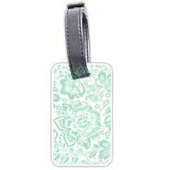 Mint green And White Baroque Floral Pattern Luggage Tags (Two Sides)