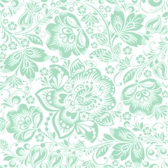 Mint Green And White Baroque Floral Pattern Magic Photo Cubes
