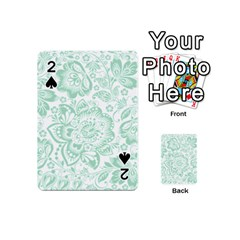 Mint green And White Baroque Floral Pattern Playing Cards 54 (Mini)